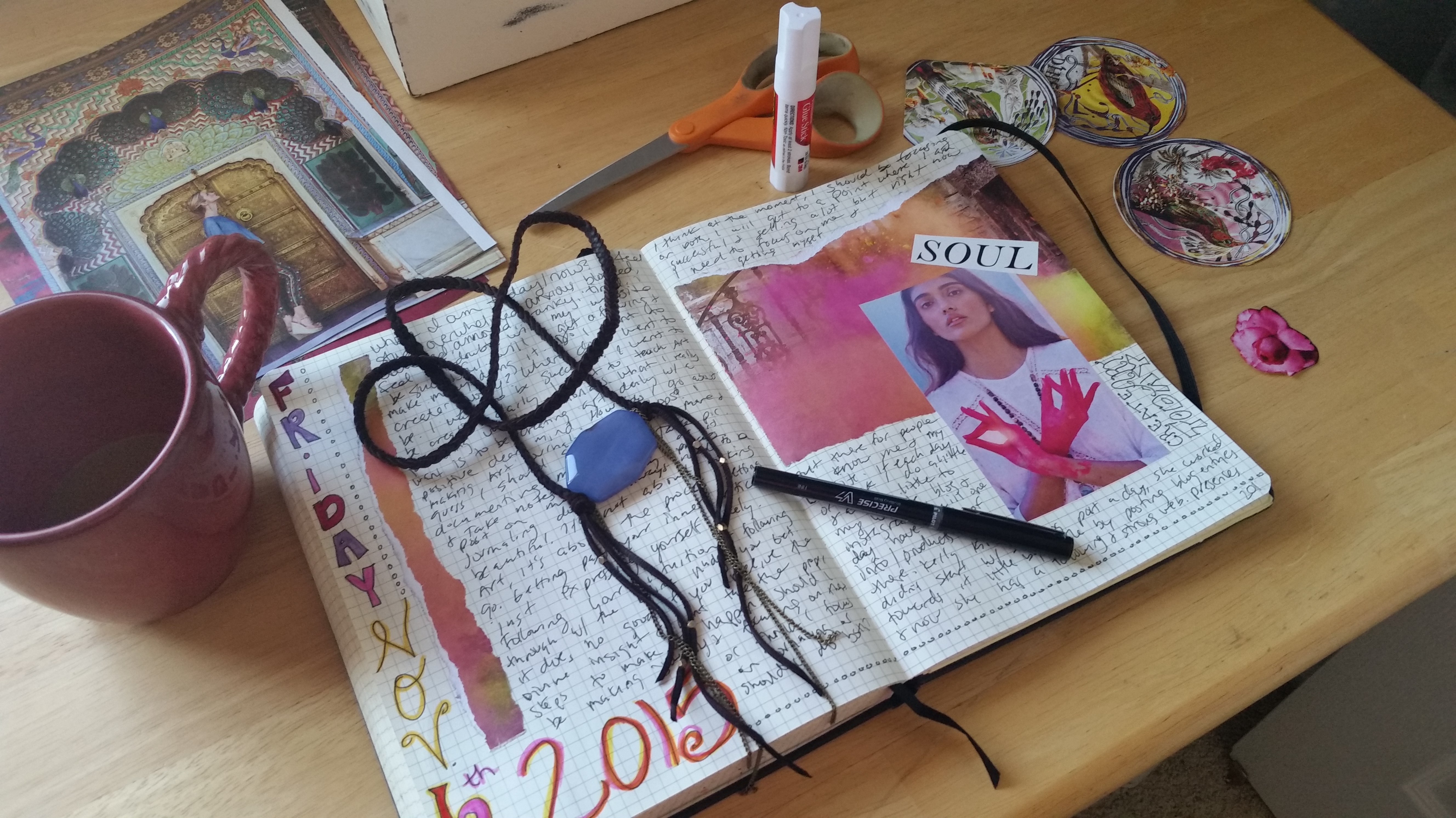 Art journaling in my creative notebook. Visual notebook. Creative sketchbook. Creative journaling. Creative notebook. Ephemera. Magazine clippings. Daily planner. Creative Planner. Inner Critic. Journaling prompts.