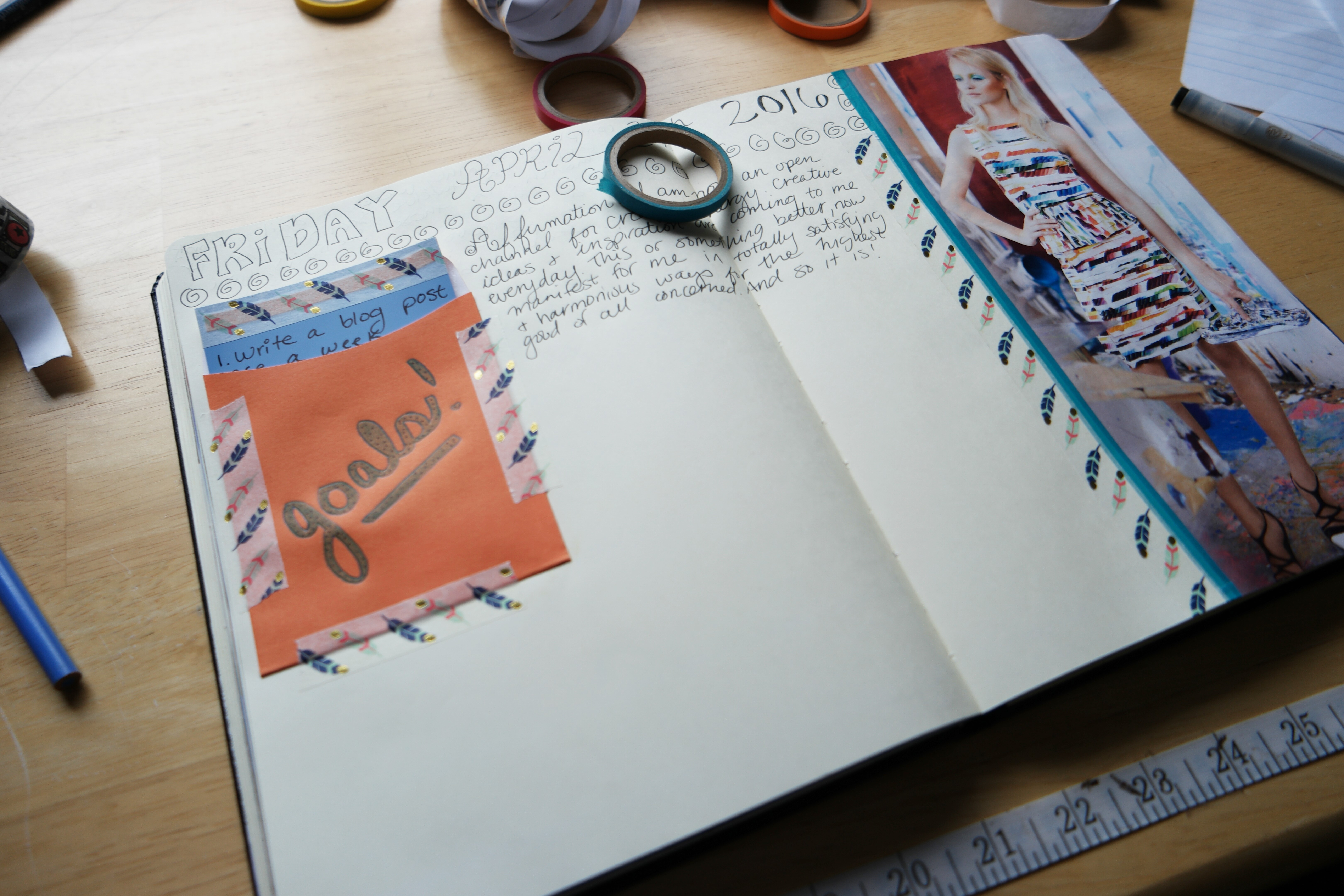 Creative goal-setting in my visual notebook. Writing affirmations.