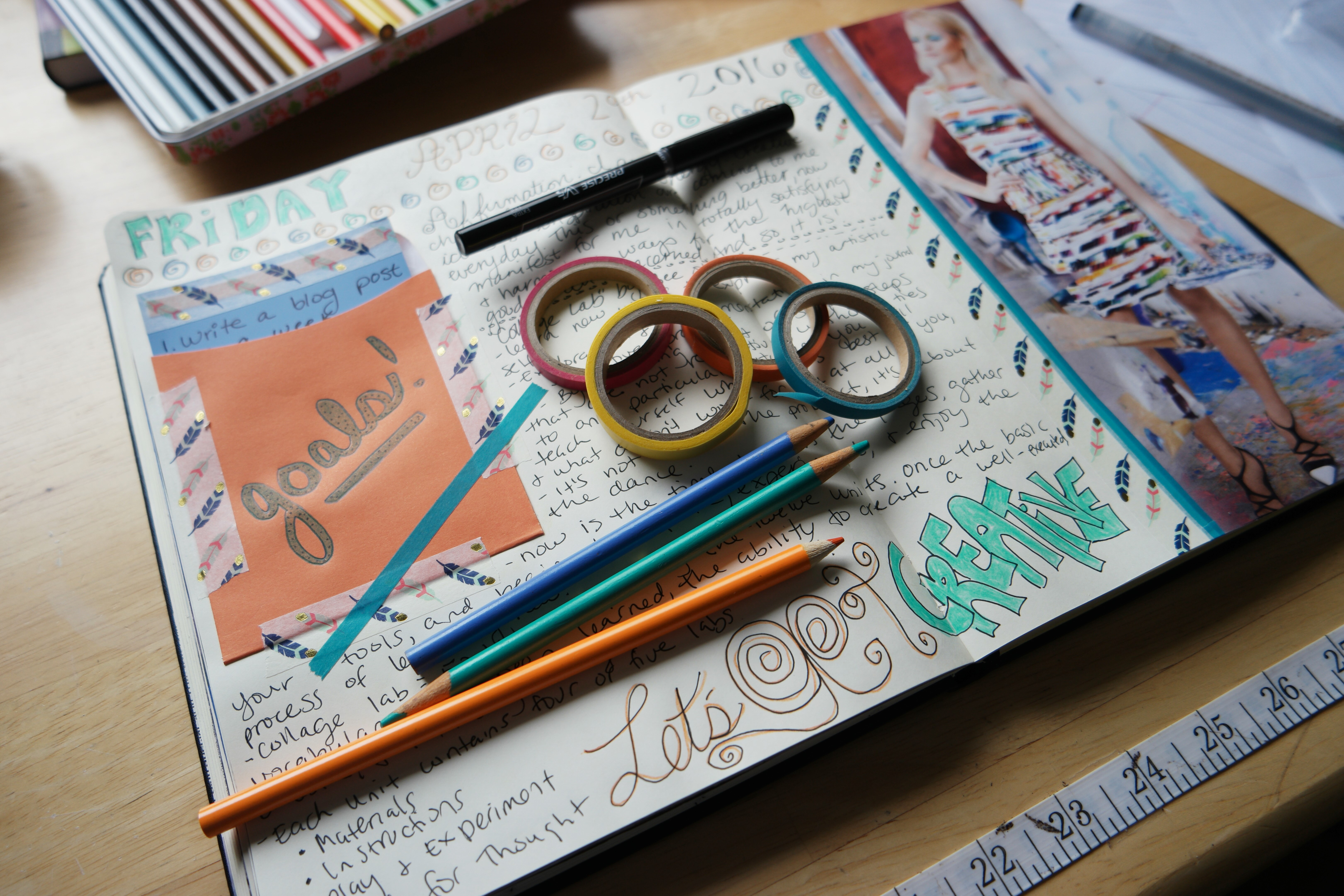 Creative goal-setting in my visual journaling. Writing affirmations.