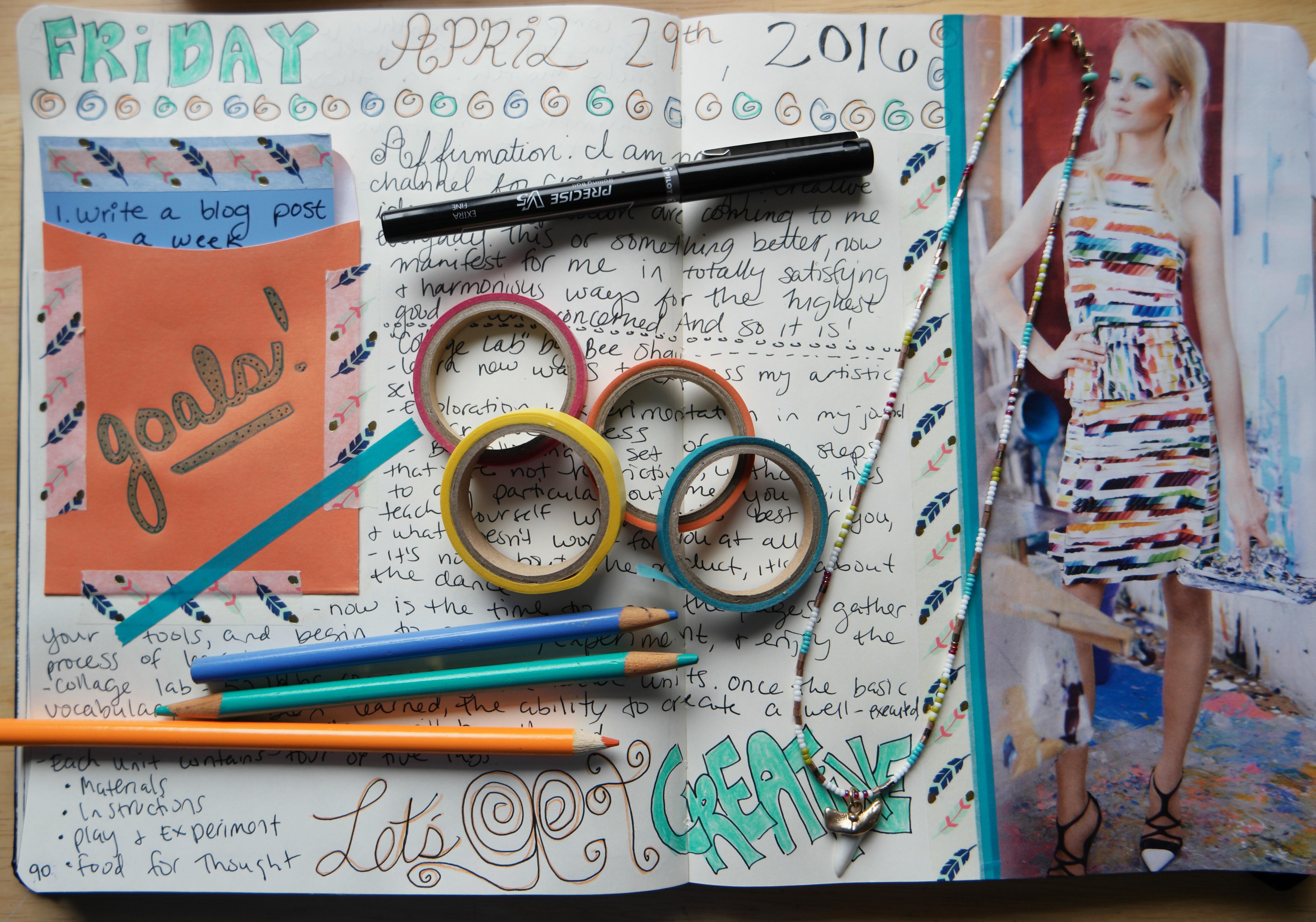 Creative journaling. Creative goal-setting. Visual journal.
