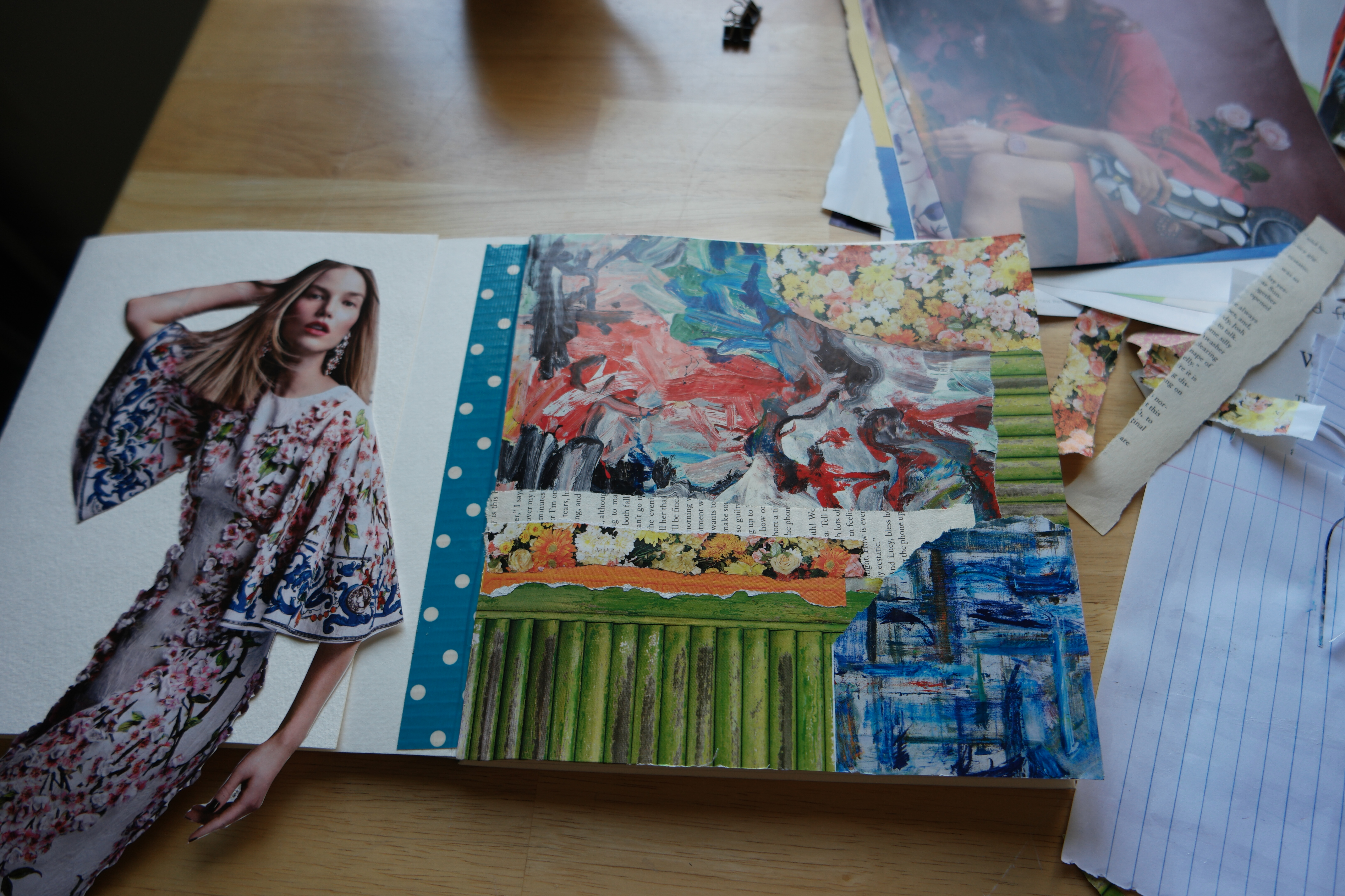 Collage journaling. Mixed media journaling. Kelly Kilmer journaling. Magazine scrap journaling. Homemade journal. Art journaling.